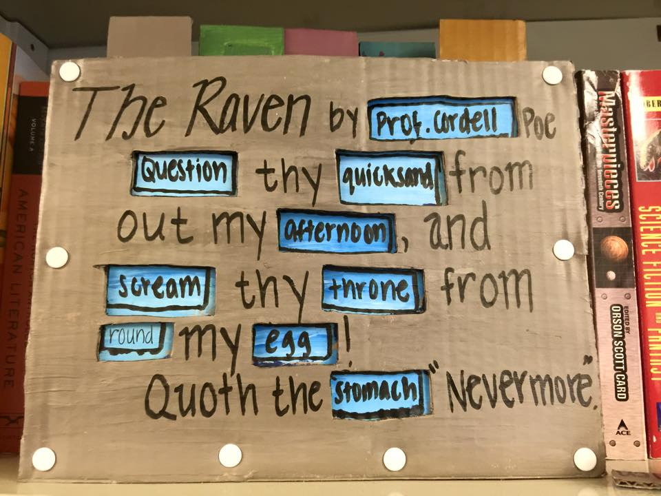 Part of a Technology of Texts student's unessay, in which she created a physical twitter poetry bot along the model of those we'd built in Python for one of the course labs.