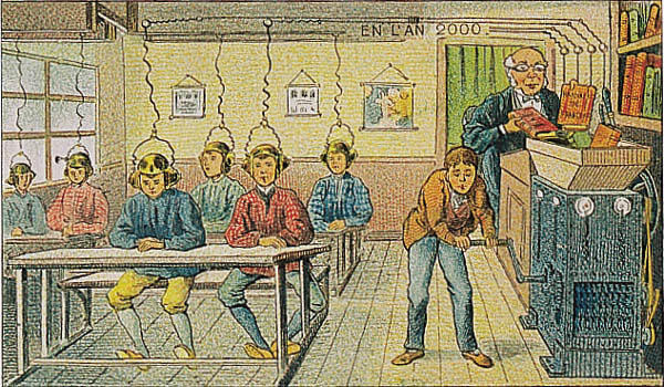 Students sit as a machine pipes information into helmets on their heads in a French painting from 1910