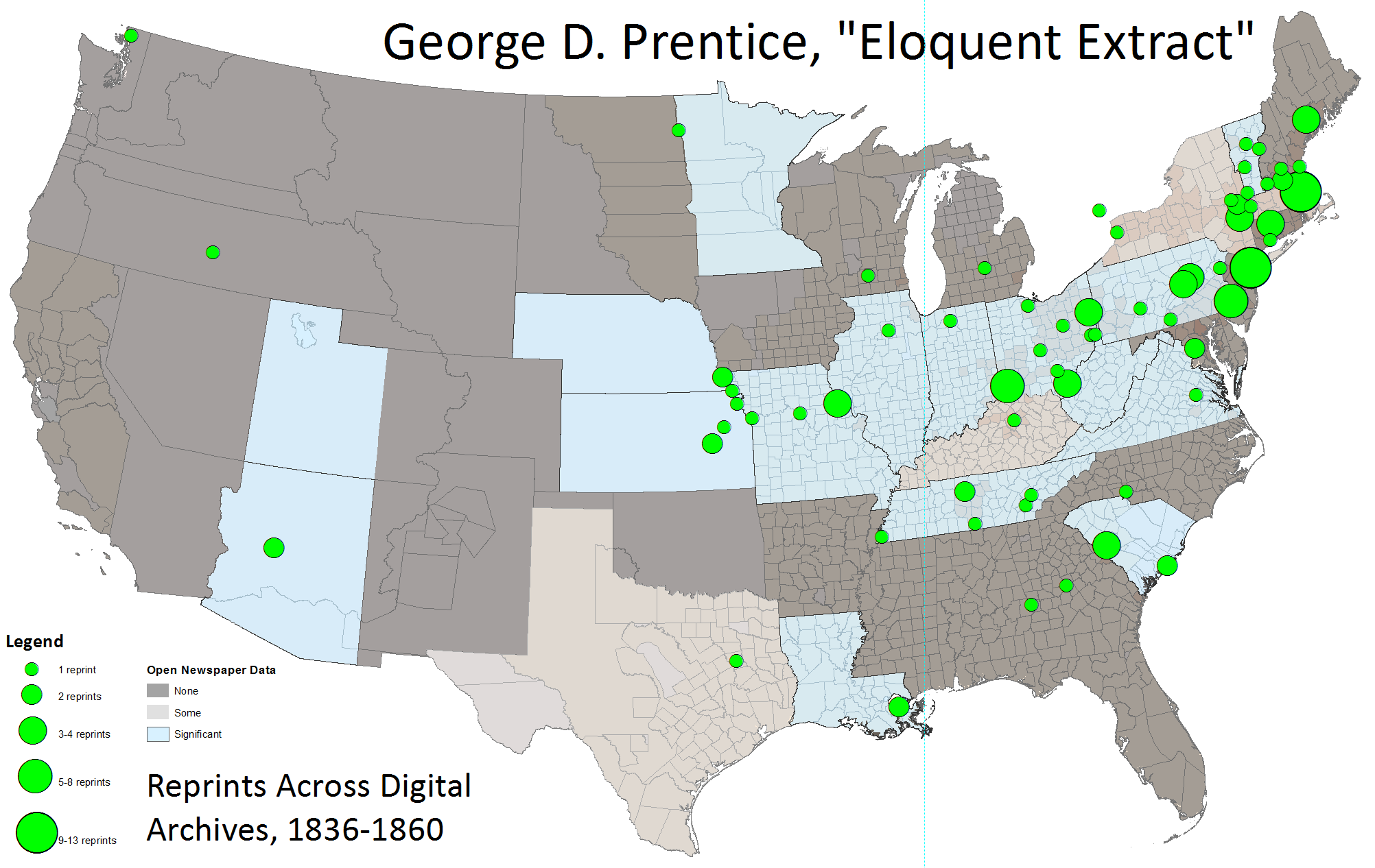 This visualization maps the bibliography of the same snippet, Eloquent Extract, across Chronicling America and a range of commercial archives of historical newspapers and magazines.