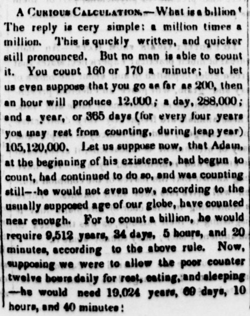 A Curious Calculation as it appeared in the Sunbury American and Shamokin Journal (15 May 1847).