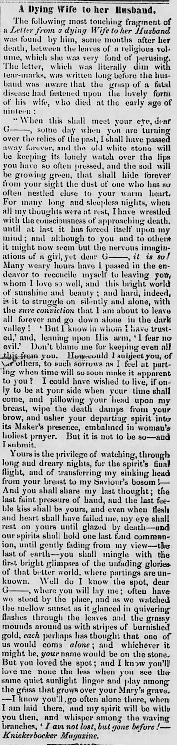 A Dying Wife to Her Husband in the <em>Abbeville Banner</em> (26 April 1851)