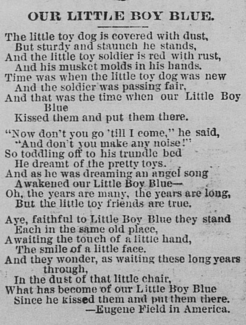 Our Little Boy Blue in the <em>St. Paul Daily Globe</em> (22 April 1888)