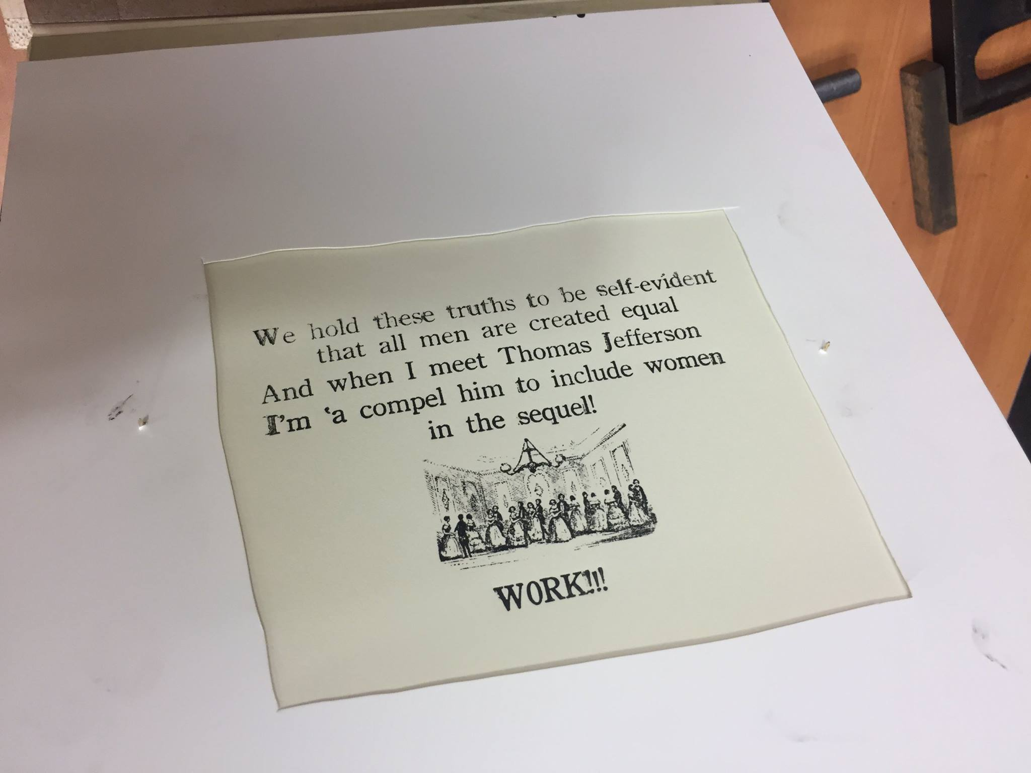 A finished project printing lines from the Broadway musical, <em>Hamilton</em>.