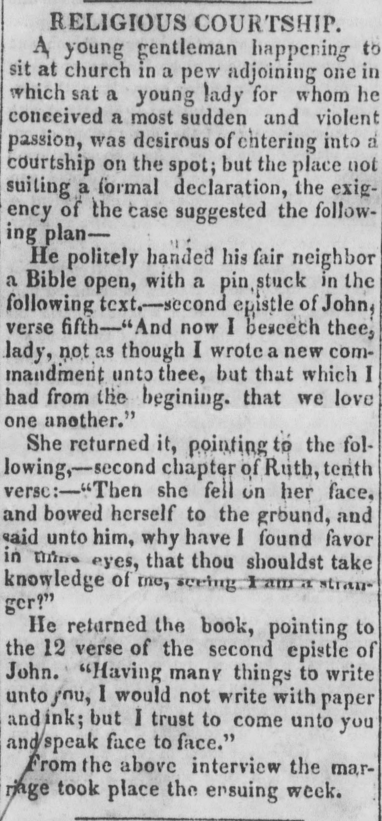 "Text of ""Religious Courtship"" from the <em>Piney Woods Planter</em> of 20 April 1839"